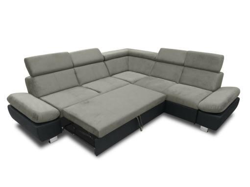 Cama abierta del sofá rinconera con baúl extraíble (derecho) y reposabrazos reclinables - Reims. Gris con negro