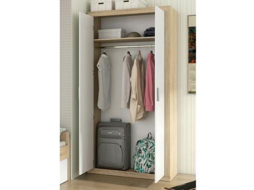 Estante y barra para colgar dentro del armario moderno pequeño, 2 puertas batientes - Catania
