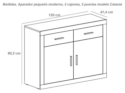 Medidas. Aparador pequeño moderno, 2 cajones, 2 puertas - Catania