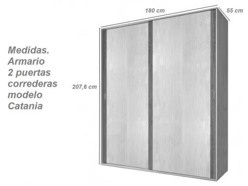 Medidas. Armario moderno, dos puertas correderas modelo Catania
