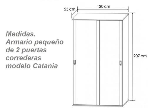 Medidas. Armario pequeño de dos puertas correderas modelo Catania