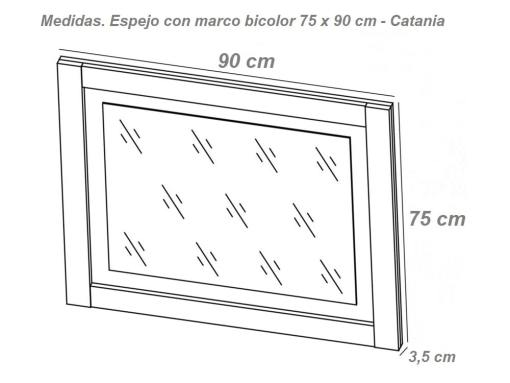 Medidas. Espejo con marco bicolor 75 x 90 cm modelo Catania