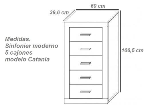 Medidas. Sinfonier moderno, cinco cajones modelo Catania