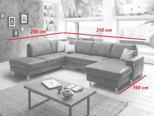 Medidas. Sofá en piel auténtica en forma de U con chaise longue eléctrico y arcón modelo Cleveland