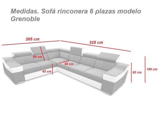 Medidas. Sofá rinconera con altos reposacebezas y respaldos, 6 plazas - Grenoble