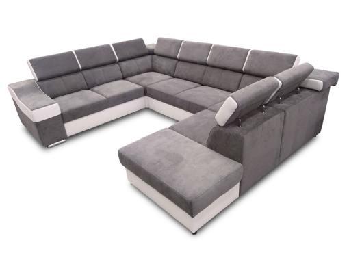 Sofá 7 plazas en forma de U con cama extraíble y reposacabezas reclinables - Cannes. Brazo lado izquerdo. Tela gris polipiel blanca