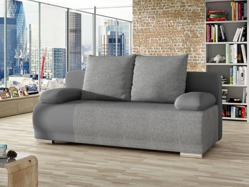 Sofá cama de 2 metros (2 plazas) - Salford. Tela gris, polipiel gris