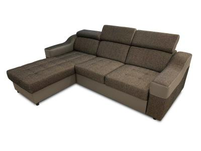 Brown Chaise Longue Sofa Bed with High Headrests - Albi. Chaise Longue on the Left Side