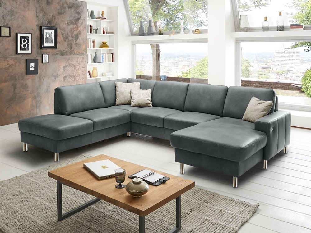 U Shaped Grey Leather Sofa With Electric Recliner And Storage