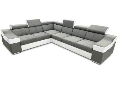 Large 6 seater corner sofa with high headrests – Grenoble. Light grey with white. Left side corner