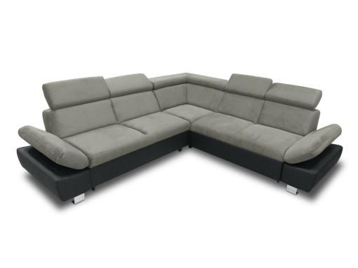 Sofá rinconera con cama, baúl extraíble (derecho) y reposabrazos reclinables - Reims. Gris con negro