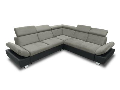Corner Sofa with Bed, Storage Drawer (Right Side) and Reclining Armrests - Reims. Grey and Black