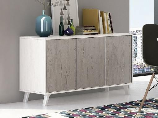 Scandinavian style sideboard with inclined legs - Lucca. Light grey and grey