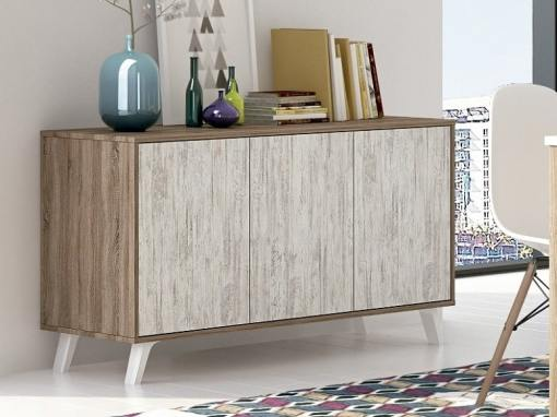 Scandinavian style sideboard with inclined legs - Lucca. Brown and light grey