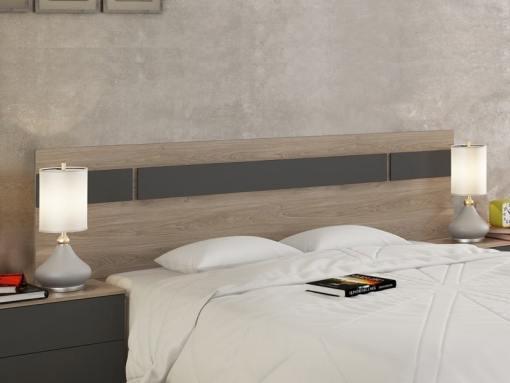 Cabecero moderno con luces LED, 210 cm - Lucca. Color roble con detalles color gris