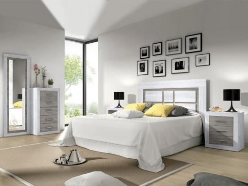 Conjunto de dormitorio - cabecero, 2 mesitas, sinfonier, espejo grande. Color gris claro con gris - Catania 02
