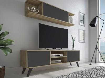 Modern Living Room Set: Wall Mounted Cabinet and TV Stand, 180 cm - Lucca