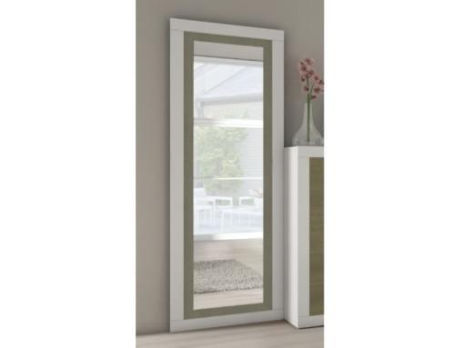 Espejo grande vertical con marco bicolor 180 x 60 cm - Catania. Gris claro con gris