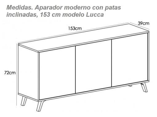 Medidas. Aparador moderno con patas inclinadas, 153 cm – Lucca