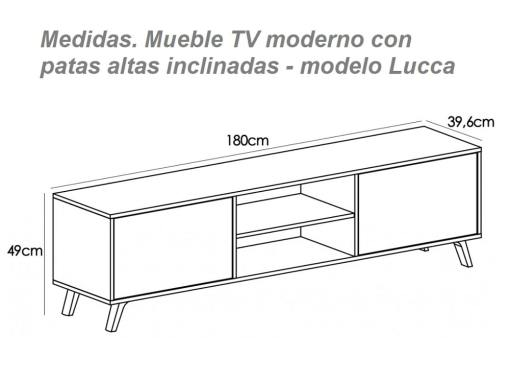 Dimensions of the modern TV stand on high inclined legs model Lucca