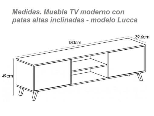 Medidas. Mueble TV con patas altas inclinadas, modelo Lucca