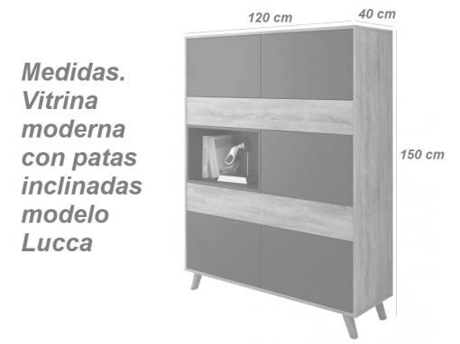 Medidas. Vitrina moderna con patas inclinadas modelo Lucca