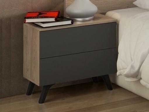 Mesita de noche moderna con patas inclinadas - Lucca. Color roble con puertas gris oscuro