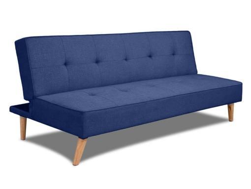 Sofá cama clic-clac económico - Ibiza. Tela color azul oscuro