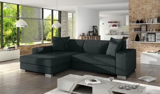 Black fabric minimalist chaise longue sofa bed (left corner) - Maldives