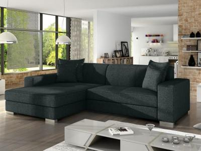 Black fabric minimalist chaise longue sofa bed (left corner) - Maldives