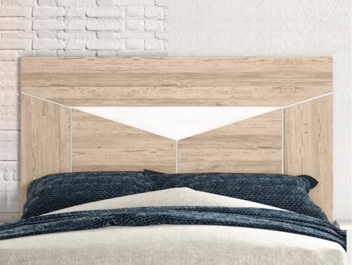 Cabecero moderno - Rubi. Color roble con triángulo blanco