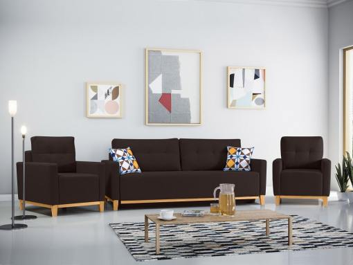 Conjunto de 2 sillones y un sofá cama con patas de madera y arcón. Color marrón oscuro - Monaco