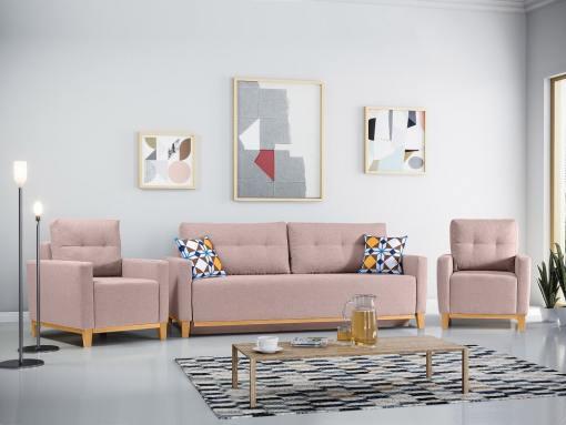 Conjunto de 2 sillones y un sofá cama con patas de madera y arcón. Color rosa - Monaco