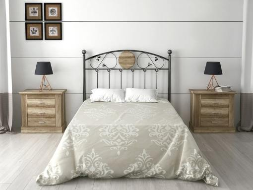 Bedroom set: wrought iron style headboard and 2 bedside tables - Alabama