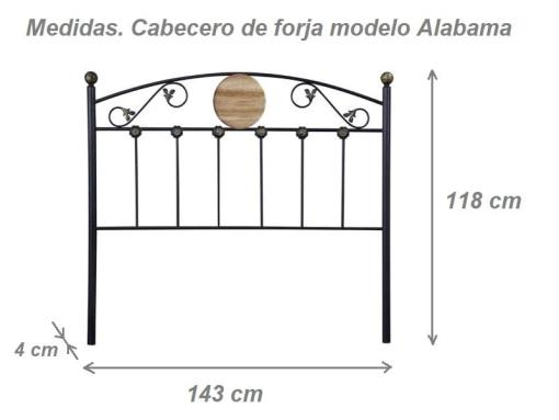 Dimensions of the wrought iron style headboard - Alabama