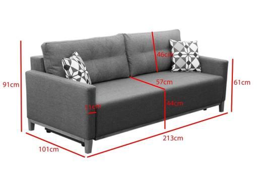 Dimensions of the Monaco sofa bed
