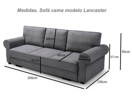 Medidas. Sofá cama grande estilo clásico con arcón modelo Lancaster