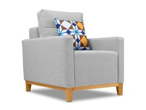 Fabric Armchair with Wood Legs – Monaco. Light grey colour
