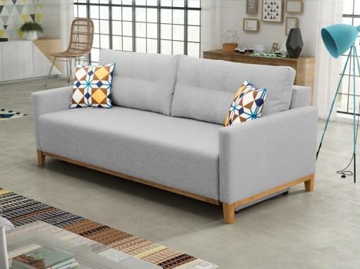 Sofá cama con patas de madera y arcón - Monaco. Color gris claro