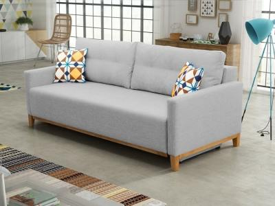 Sofa bed with wood legs and storage - Monaco. Light grey fabric