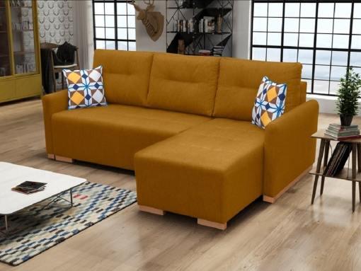 Sofá chaise longue cama (derecho) con arcón - Corsica. Color oro