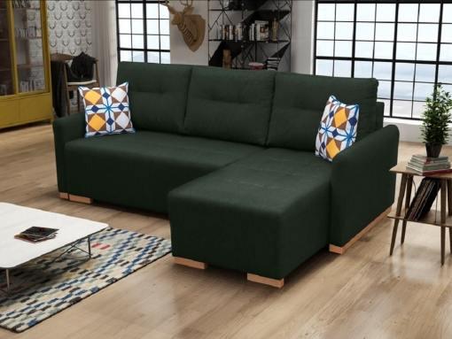 Sofá chaise longue cama (derecho) con arcón - Corsica. Color verde oscuro