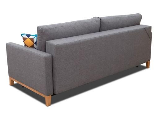 Tapizado detrás. Sofá cama con patas de madera y arcón - Monaco