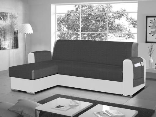 Funda salvasofá para sofá chaise longue - Cuvert 01. Color blanco-negro. Esquina lado izquierdo