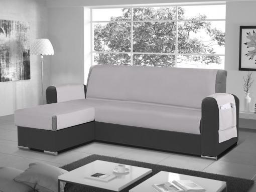 Funda salvasofá para sofá chaise longue - Cuvert 01. Color 'gris claro'. Esquina lado izquierdo