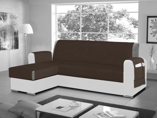 Funda salvasofá para sofá chaise longue - Cuvert 01. Color marrón. Esquina lado izquierdo