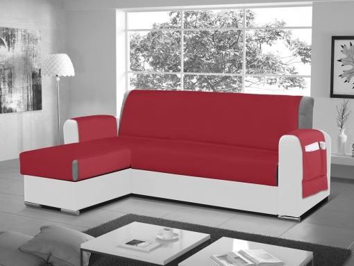 Funda salvasofá para sofá chaise longue - Cuvert 01. Color rojo. Esquina lado izquierdo