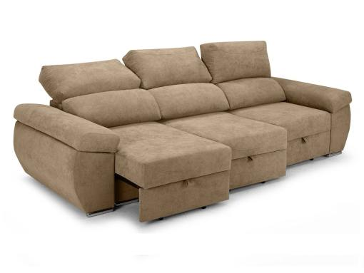 Sliding seats and reclining backrests of the Cartagena sofa. Beige fabric