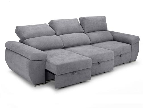 Sliding seats and reclining backrests of the Cartagena sofa. Light grey fabric