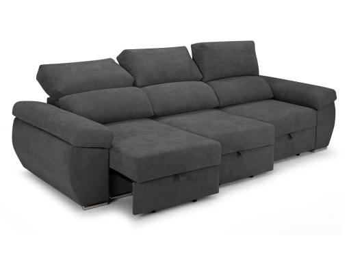 Sliding seats and reclining backrests of the Cartagena sofa. Grey fabric